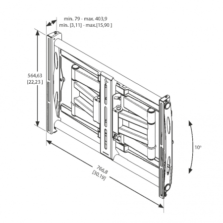 MM-6851 Ausziehbarer Wandhalter für Brandschutzgehäuse bis 80kg