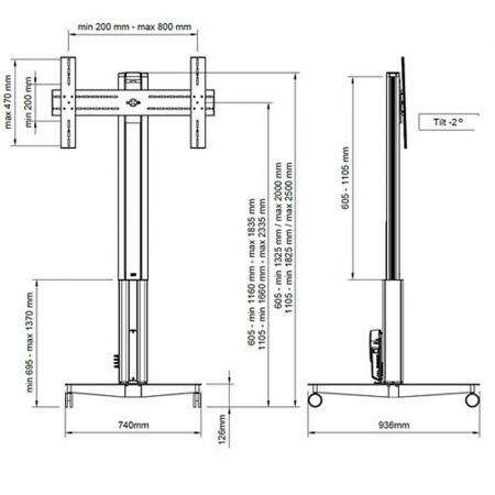 XFHM Elektrisch Höhenverstellbarer Rollwagen für 40-55 Zoll