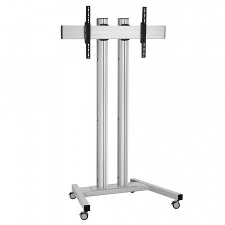 Monitor Rollwagen Silber für Displays ab 65 Zoll,  max. 80 kg