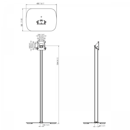 Bodenständer für Tabletgehäuse Aluminium/Schwarz