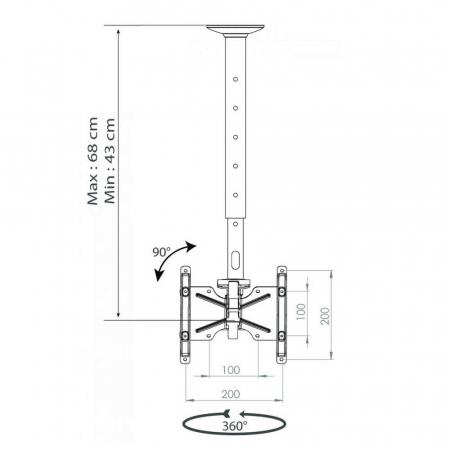 Monitor Deckenhalterung 19-37 Zoll