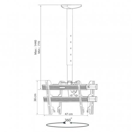 Deckenhalterung für zwei Monitore 24-37 Zoll