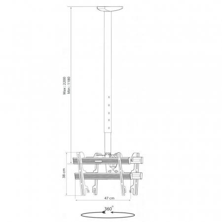 Deckenhalterung 118-220 cm für 2 Monitore 24-37 Zoll