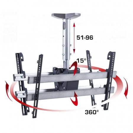 Deckenhalterung für zwei Monitore 37-70 Zoll Höhe 51-96 cm