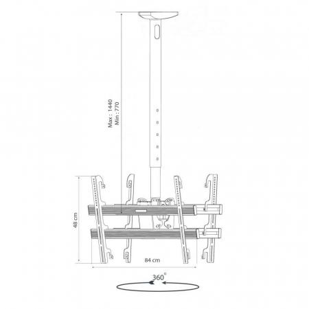 Deckenhalterung für zwei Monitore 37-70 Zoll Höhe 118-220 cm