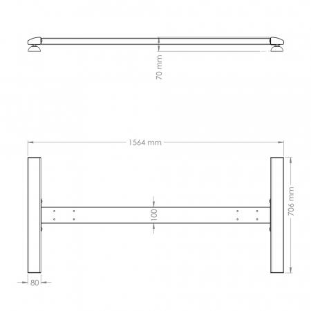 Trolley Gestell H Large für beidseitige Monitorhalterungssystem