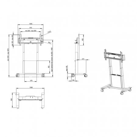 Elektrisch Höhenverstellbarer Rollwagen für Displays bis 85 Zoll