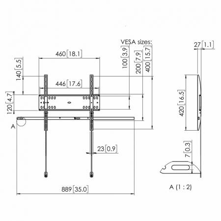 MM-PFW 4500 Verriegelbarer TV-Wandhalter für 42-55 Zoll