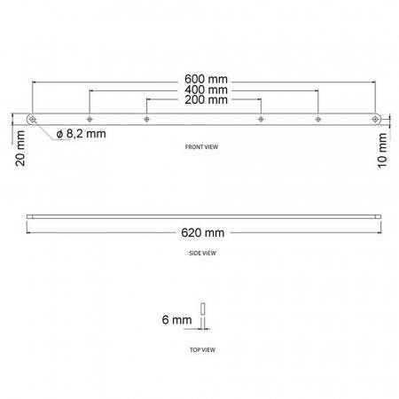 Adapter Schienen zur Erweiterung auf VESA 600