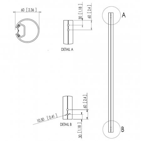 MM-PFA9003 Decken-Profil-Rohr 150 cm