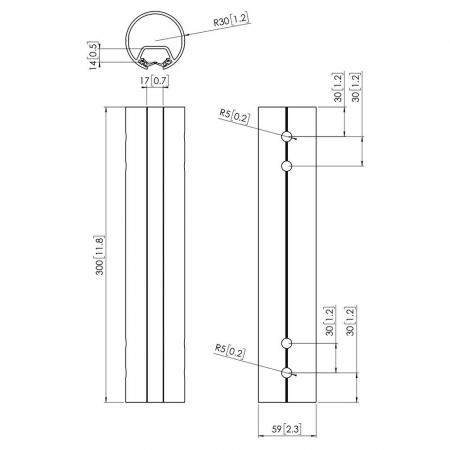 MM-PFA9016 Decken-Profil-Rohr 30 cm