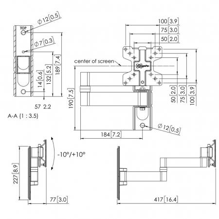 MM-PFW1040 Schwenkbarer Display-Wandhalter für 10-27 Zoll
