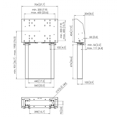 Motorbetriebene Bodenständer, Boden befestigt FMDE9964 99 cm