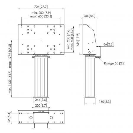 Motorbetriebener Bodenständer, Boden befestigt MM-FME6064  60 cm