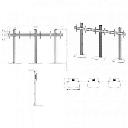 TV-Standfuß Flat Base für Monitore von 55-70 Zoll 1x3