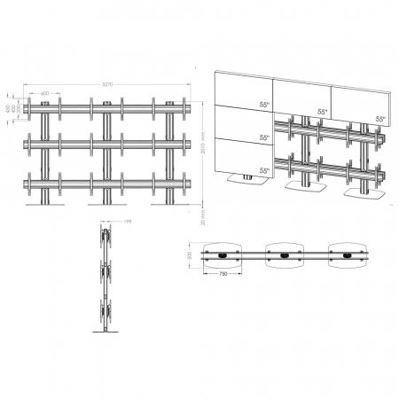 TV-Standfuß Flat Base Rücken an Rücken für Monitore von 55-70 Zoll 3x3