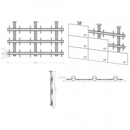 Multiscreen TV-Deckenhalterung für neun Monitore von 55-70 Zoll 3x3