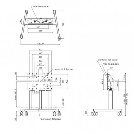 MM-62-7225B Rollwagen für große und schwere Displays bis 98 Zoll