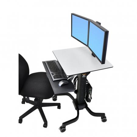 Ergotron Workfit-C Sitz und Steh Rollwagen für Dual Monitore