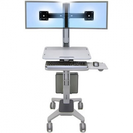 Ergotron WorkFit-C Dual Rollwagen mit Tastaturhalter