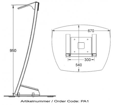 Parabella Standfuß im Pult-Design für Monitore bis 50 Zoll