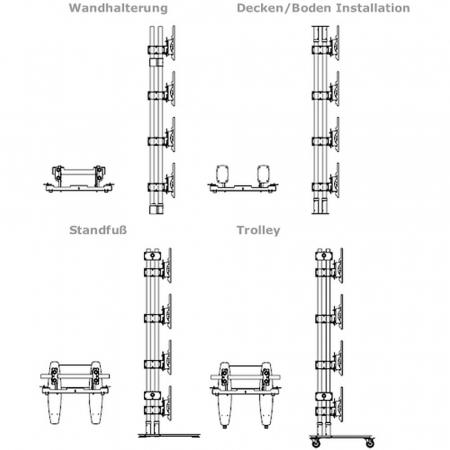 Unicol Videowall Modul für Monitore von 40 bis 46 Zoll