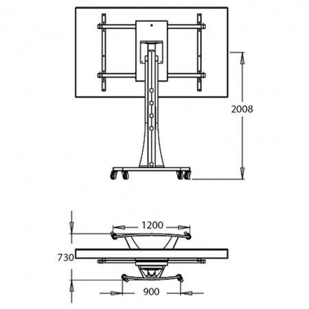 LCD LED TV Rollwagen für 71 - 90 Zoll Displays Axia Titan