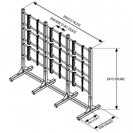 MM-PFF 7810 Videowall Standfuß für 3x3 Monitore 46 Zoll