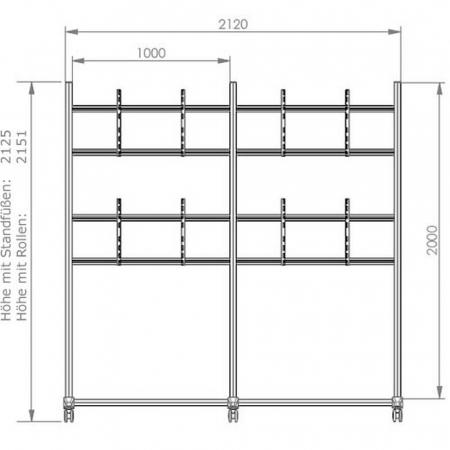 Videowall Standfuß für 2x2 Monitore 46-55 Zoll