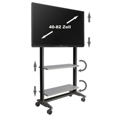 TV Rollwagen MultiRack MR1600sw für LCD LED Monitore