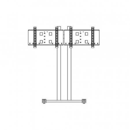 Konvention Rollstandfuß für 2 Monitore bis 65 Zoll