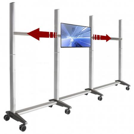 TV Rollwagen mit Laufschiene für 3 schiebbare 24 Zoll Monitore