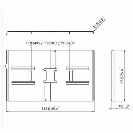 Rückabdeckung für Monitore von 50 - 55 Zoll