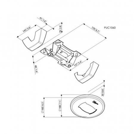 MM-PUC1060 Decken-Befestigungskonsole
