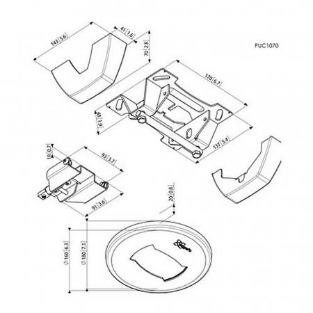 MM-PUC1070 Decken-Befestigungskonsole