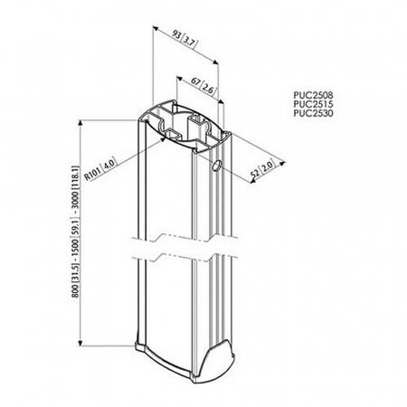 MM-PUC2515 Decken-Rohr 150 cm Länge