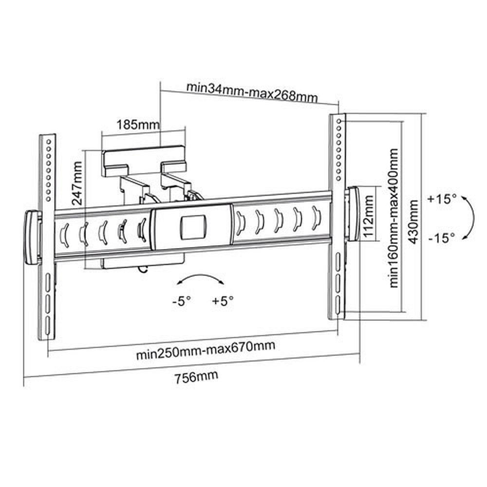 ml1009 vollbewegliche monitor wandhalterung 32 60 zoll. Black Bedroom Furniture Sets. Home Design Ideas
