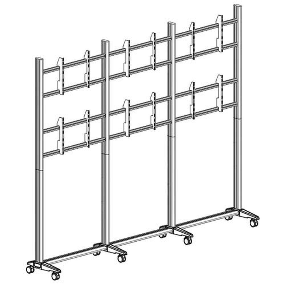 videowall rollwagen f r 2x3 monitore bis 42 zoll. Black Bedroom Furniture Sets. Home Design Ideas